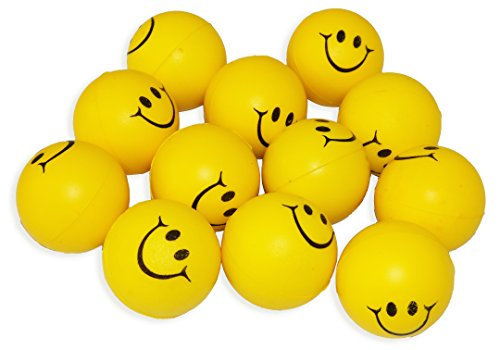 Yellow Smiley Face Squeeze Stress Reliever Ball, 12 Pcs