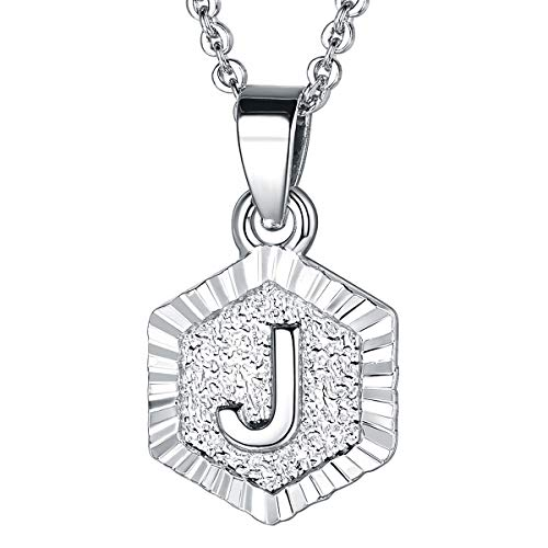 Silver Color Necklace - FOCALOOK J Initial Necklace Platinum Plated Tiny Alphabet Charm Letter Monogram Jewelry for Women Girls