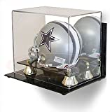 BCW Deluxe Acrylic Mini Helmet Display - With Mirror & Wall Mount - Football Helmet, Goalie Mask, Racing Helmet - Sports Memoriablia Display Case - Sportscards Collecting Supplies