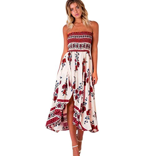 40 Blend Chino Skirt (Women's Dress,Neartime Off Shoulder Boho Long Maxi Beach Dresses Red Floral Sundress (L))