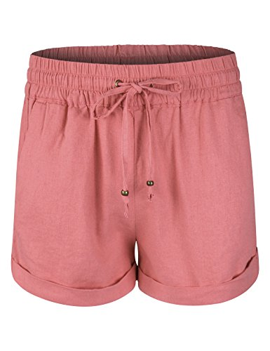 Mauve Linen - makeitmint Women's Super Comfy Solid Linen Pocket Summer Pant Shorts [9 Colors] YBS0011-MAUVE-LRG