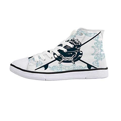 Surf Stylish High Top Canvas Shoes,Surf Sign with Diving Suit and Elements Myst Underwater Recreational Design Decorative for Men & Boys,US 7