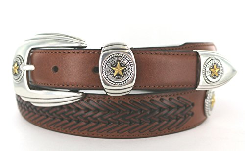 BL032 TEXAS GOLD STAR SEAL WESTERN LEATHER CONCHO BELT - Tan, 32