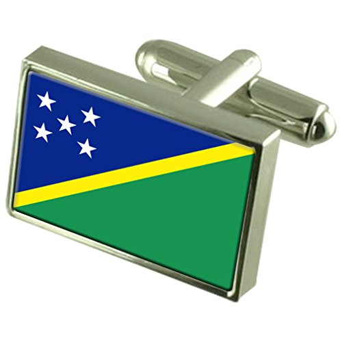 Solomon Islands Sterling Silver Flag Cufflinks in Engraved Personalised Box by Select Gifts