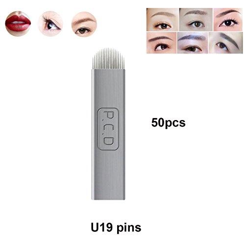 Guapa PCD Microblading Needles for Eyebrow Eyeliner Lip Permanent Makeup Pure Metal Tattoo Needles 12Pins 14Pins U Shape 19 Pins Manual Blades (U 19-50pcs)