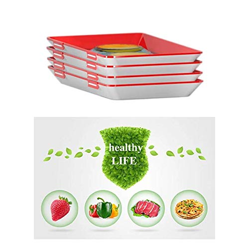 Healthy Creative Food Preservation Tray with elastic lid Storage Container Set Kitchen Tools (4 pcs)