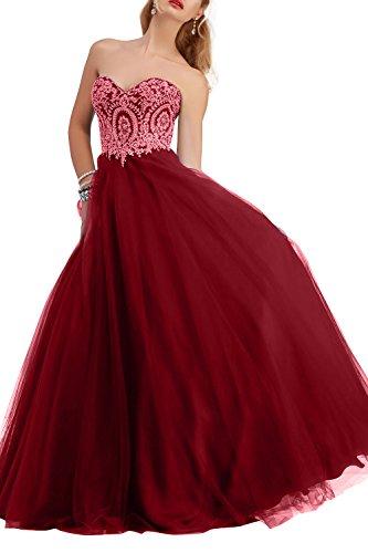 Rot Brautmutterkleider Spitze La Tuell Festlichkleider Tanzenkleider Abendkleider Brau Partykleider Promkleider mia Dunkel Langes EFqF4Y7w