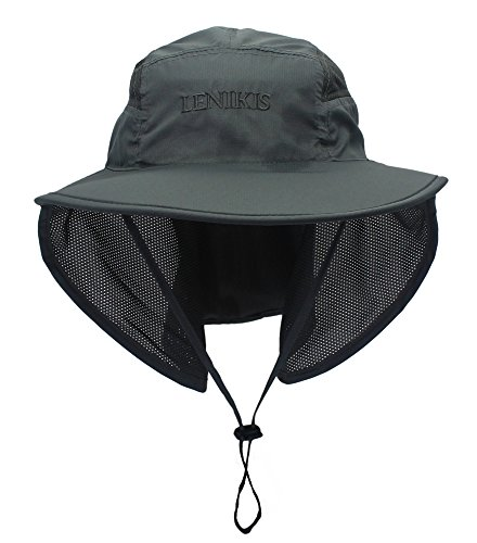 Lenikis Unisex Outdoor Activities UV Protecting Sun Hats With Neck Flap Black ()