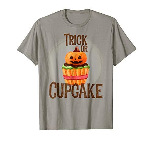 Trick or Cupcake Halloween Pumpkin Funny Costume Gift Shirt