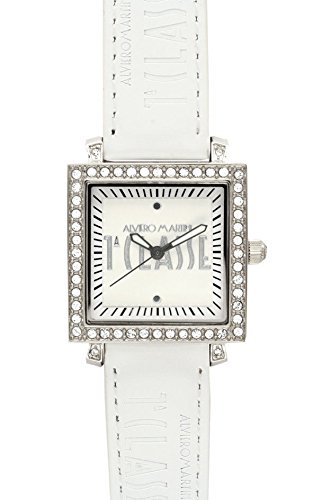 Prima Classe Women's PCD 929S/BB Square Silver Dial White Crystal Watch