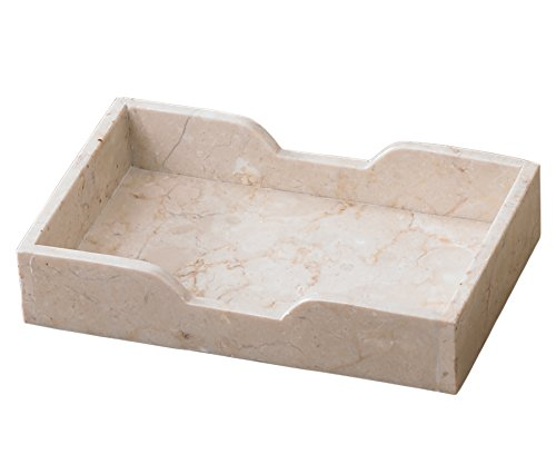 Creative Home Natural Champagne Marble Rectangular Guest Towel Organizer Tray 9.5