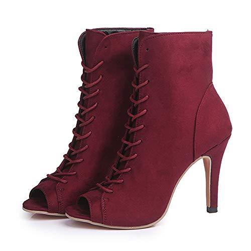con Suede Tacón 10cm para Botas de Cómodo Vaquero EN Imitación Mujer Botines Ancho Flecos Al Tobillo de Mujer Estilo Cuero Tacón con de Zapatos Botas DE Botas Botas POLP Rojo Mujer con Tacon Negro 1AqpwUfxP