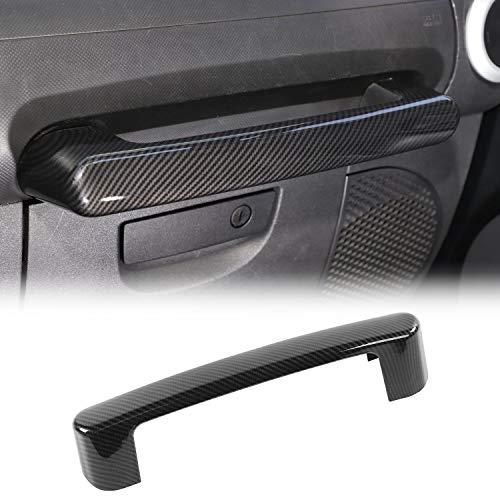 JeCar Copilot Grab Bar Trim Cover ABS Interior Accessories for 2007-2010 Jeep Wrangler JK JKU Sport Sahara Rubicon X, Carbon Fiber Texture