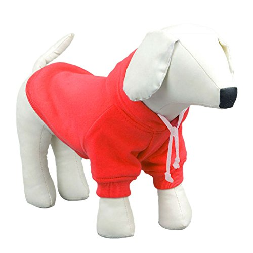 dzt1968 1 pc Fashion Winter Pet Puppy Dog Cat Coat Clothes Hoodie Sweater Costumes (L, RD)