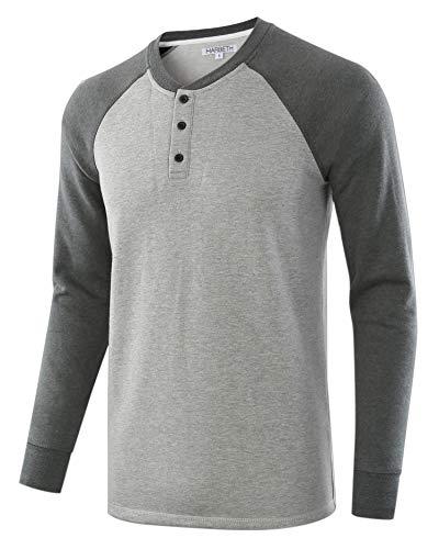 HARBETH Men's Casual Soft Fleece Baseball Henley Sweatshirt Pullover Sweater H.Gray/S.Green S
