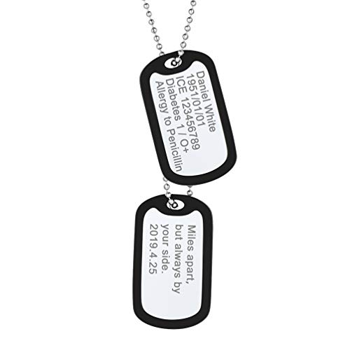 PROSTEEL Personalized Dogtag Chain Necklace Custom Name Jewelry Men Women Boy Stainless Steel Pendant Military Army Dog Tags Men