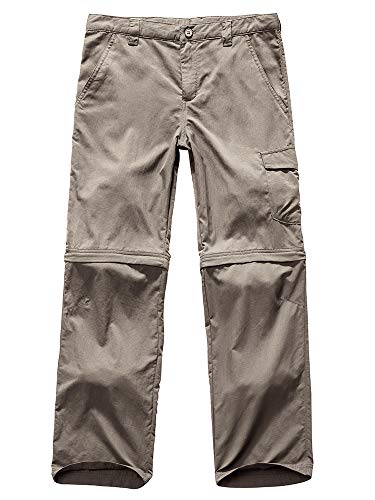 - Kids Boy's Outdoor Quick Dry Convertible Pants, Hiking Camping Fishing Zip Off Trousers #9011-Light Khaki, XL