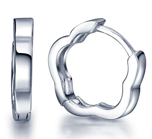 Infinite U Huggie Earrings 925 Sterling Silver Small Hoop for Women/Girls (Plum Flower)