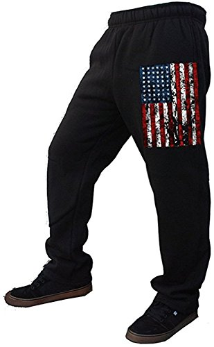 USA Flag Men's Sweatpants Black S-2XL (L, Black) (American Flag Sweatpants)