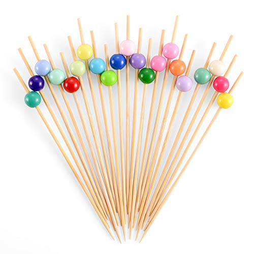 Bamboo Cocktail Skewers 4.7 Inch, Fancy Appetizer Toothpicks - Decorative Party, Appetizers, Drink, Fruit, Sandwich Picks for Wedding and Baby Shower. (Assorted Color Pearls, 100 Counts) -