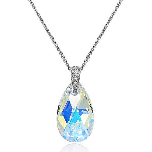 (Sterling Silver Aurora Borealis Teardrop Pendant Necklace Made with Swarovski Crytals)
