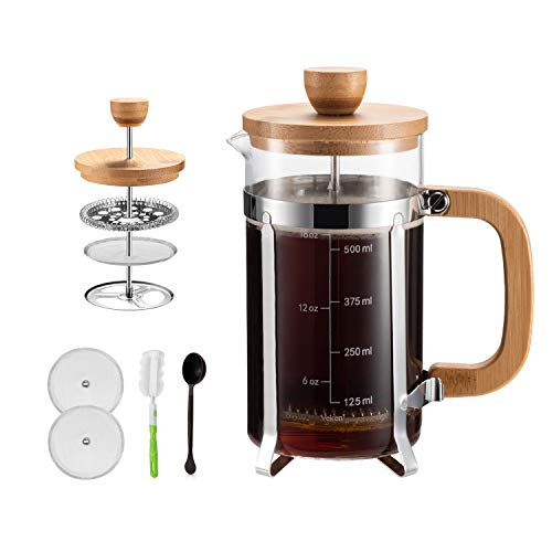Covos French Press Coffee Maker 34 oz with 4 Filter Screens, Durable 304 Grade Stainless Steel Heat Resistant Borosilicate Glass Tea Maker Bamboo Handle, with Cleaning Brush and spoon(8 cups, 34 oz)