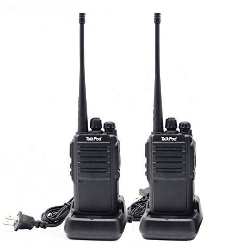 TalkPod Walkie Talkies Long Range UHF 400-470 MHz Signal Frequency Single Band 16 Channels Two-Way Radio(Black Pack of 2)