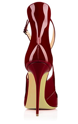 Taille Stilettos Chaussures Femme Grande Rouge Ubeauty Escarpins Laçage Cross YCS7wc1qx