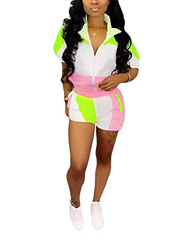 Womens Casual Two Piece Outfits Zip Up Patchwork Half Sleeve Jacket Top Shorts Pants Sets Light Pink + Green Size -