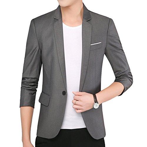 Hombres Manga Larga Chaqueta Blazer Slim Fit 1 Buckle Casual Jacket Celeste S ULfouH