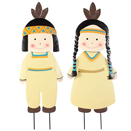 Miles Kimball Metal Native American Boy and Girl by Maple Lane Creations