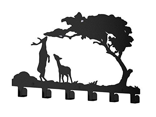 Wander Agio Sika Deer Pine Metal Wall Mounted Bag Hanger Coat Rack Clothing Hooks Black