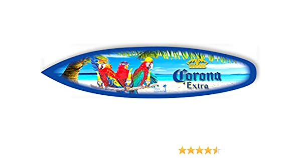 """Corona Surfboard Sign /""""Parrot Party/"""" Mini Surf. 23/"""" x 5/"""""""