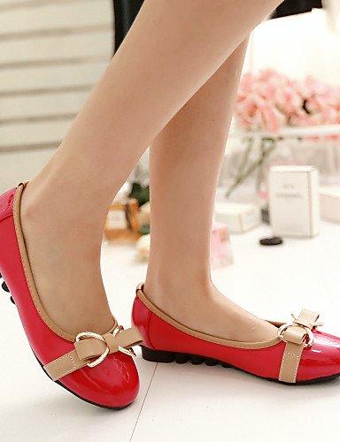 sintética de pink Casual uk4 de PDX plano talón Flats verde redonda punta us6 rojo blanco rosa zapatos cn36 mujer eu36 piel xaxXqEH