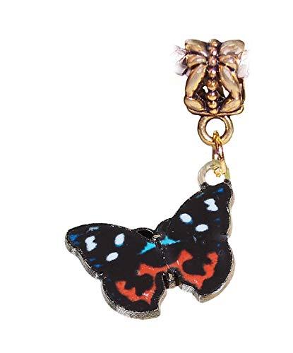 Charm - Jewelry - Pendant - Butterfly Orange Black Blue for Bracelet