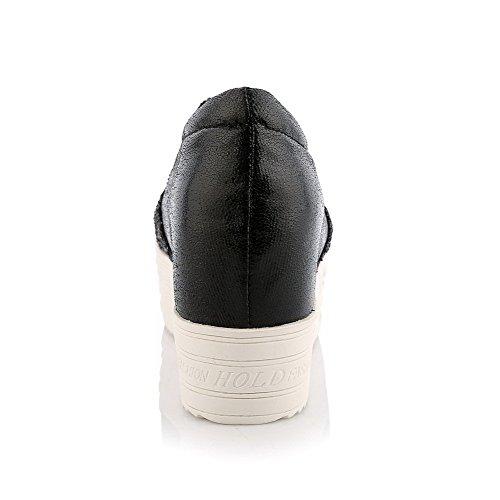Kierroksella Korkokengät Pu Musta Suljetun Naisten Solid Toe kengät Pumput Weipoot Vedä q4W7Onp4E