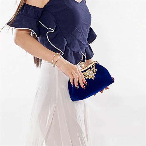 Perle Sac Blue YANXH Design Sac De Cristal Mariage Soirée Partie Strass d'embrayage Bourse À Velours Mariée Velours Femme Vintage Main Fleur De Velours Sac grqtrFO