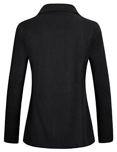 Hibelle Petite Coat, Sports Jacket Women Athletic Running Yoga Exercise Full Zip Lightweight Casual Loose Fitting Stretchy Plain Cozy Tops with Pockets for Winter Black Medium M