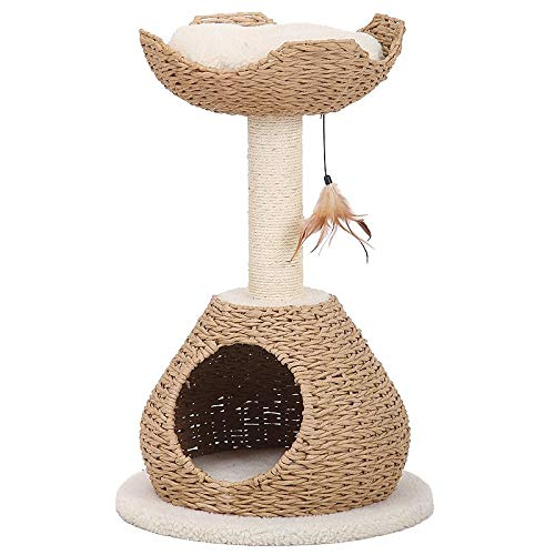 Petpals Hand Made Paper Rope Cat Tree Condo with Scratching Post, Perch and Interactive Feather Toy, Natural ()