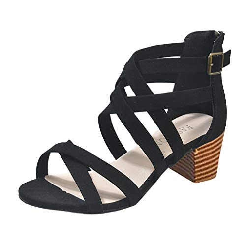 (JJLIKER Women Gladiator Criss Cross Open Toe High Heels Buckle Ankle Strappy Cut Out Sandals Summer Shoes with Zipper Black)