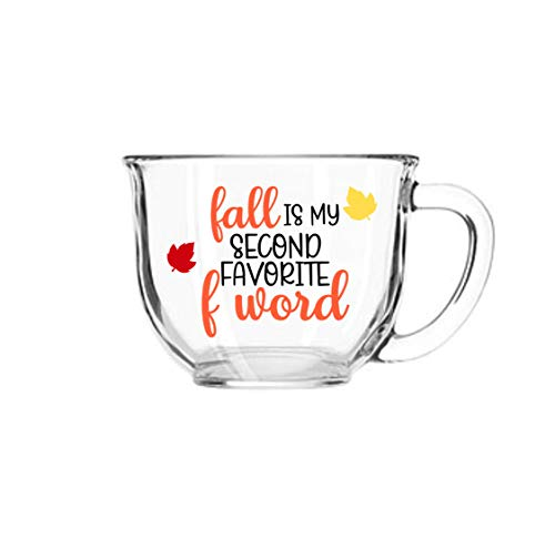 Fall Is My Second Favorite F Word Autumn Glass Mug 18 Ounces with Handle]()