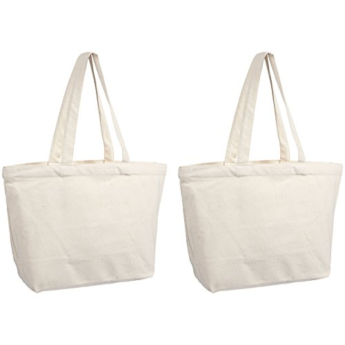 Reusable Grocery Bags - 2 Pack Canvas Blank Tote Bags - 18.5