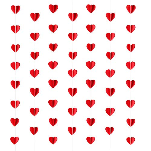 ANJIA 3D Red Heart Garland Banner - Valentine's Day Heart Hanging Decorations Wedding Party Backdrop Decor Supplies ()
