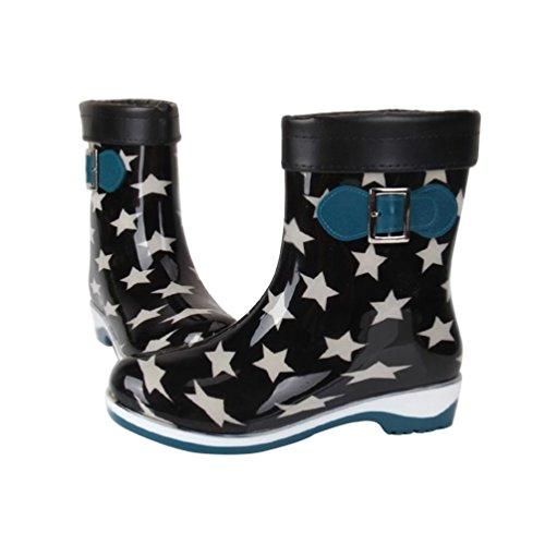 Bottes caoutchouc jardin de imperméables mollet Étoile fourrées pluie Chaussure mi YoungSoul Noir bottes en femme de Bottines Y6PwI