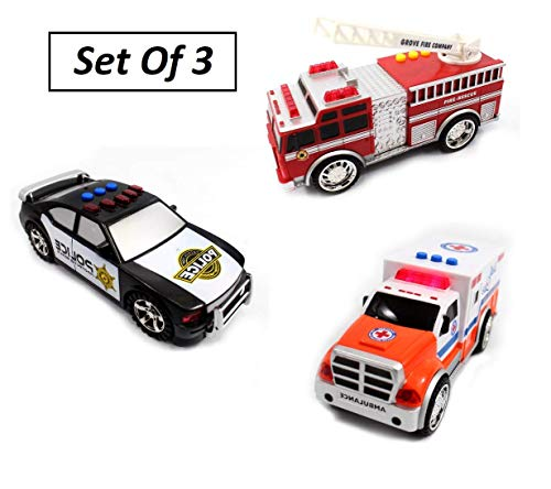 (Emergency Vehicle Toy Set - Educational True Hero Vehicles Toy Playset for Kids, Includes A Police Car, Ambulance, Fire Truck - 3-Button Led Light and Realistic Sound Effects -)