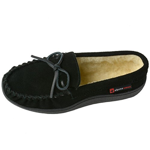 Pictures of alpine swiss Sabine Womens Genuine Suede Shearling By Alpine Swiss 1