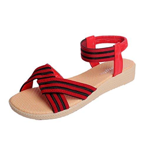 DDLBiz Fashion Bohemian Flat Striped Shoes Bandage Leisure Sandals Casual Shoes (US:6(9.1''-9.3
