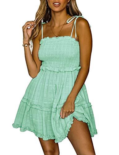 - LEANI Women's Summer Spaghetti Strap Solid Color Ruffle Backless A Line Beach Short Dress Light Green