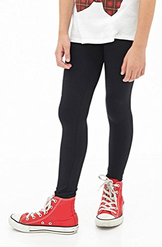ToBeInStyle Girls' Basic Full Length Leggings - Black - Size 8