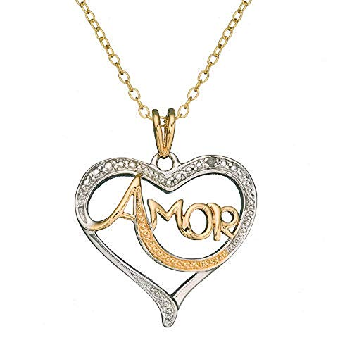 Amor Pendant - Beautiful 18K Gold Over Sterling Silver Diamond Accent 'Amor' Love Heart Pendant Necklace #BLAS